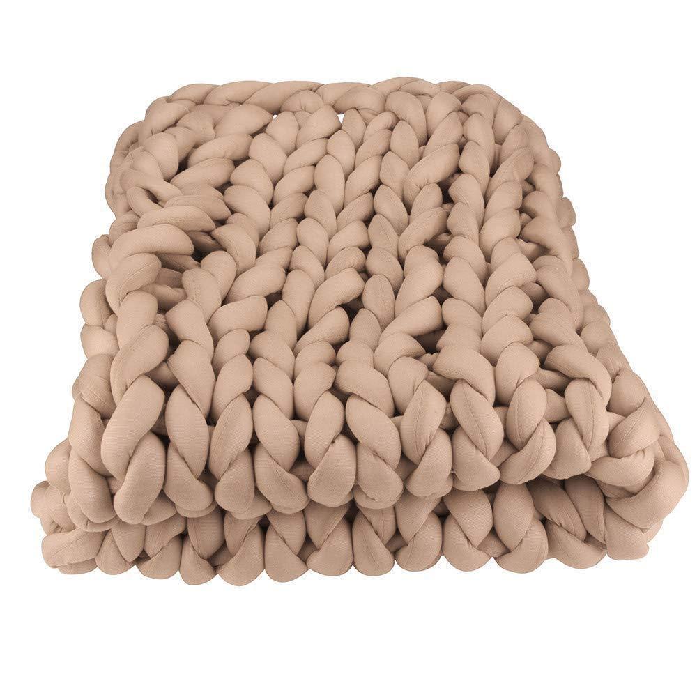 Arm Knit Chunky Blanket,Baby Blanket 32''x40'' Giant Knit Blanket,Braid Cotton Blanket,Super Chunky Knit Throw Home Bedroom Blanket