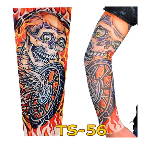 CoolBiz Men's Burning Skull Print Tattoo Sleeve One Size Pattern Color
