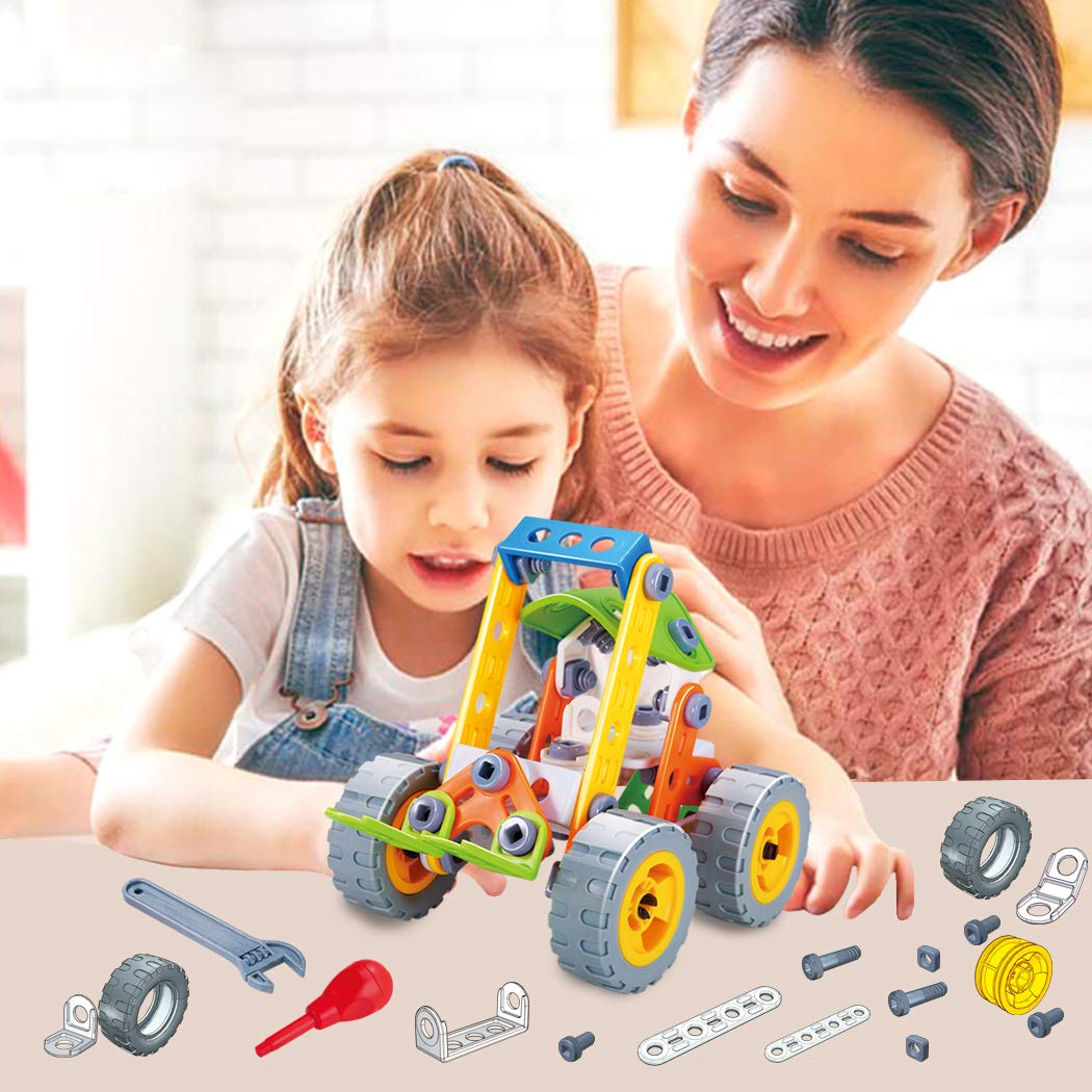 GGIENRUI Build and Play Toys Construction Engineering Learning Building Blocks for 5 Years Old and up Boys Girls Birthday 84pcs Kingrui