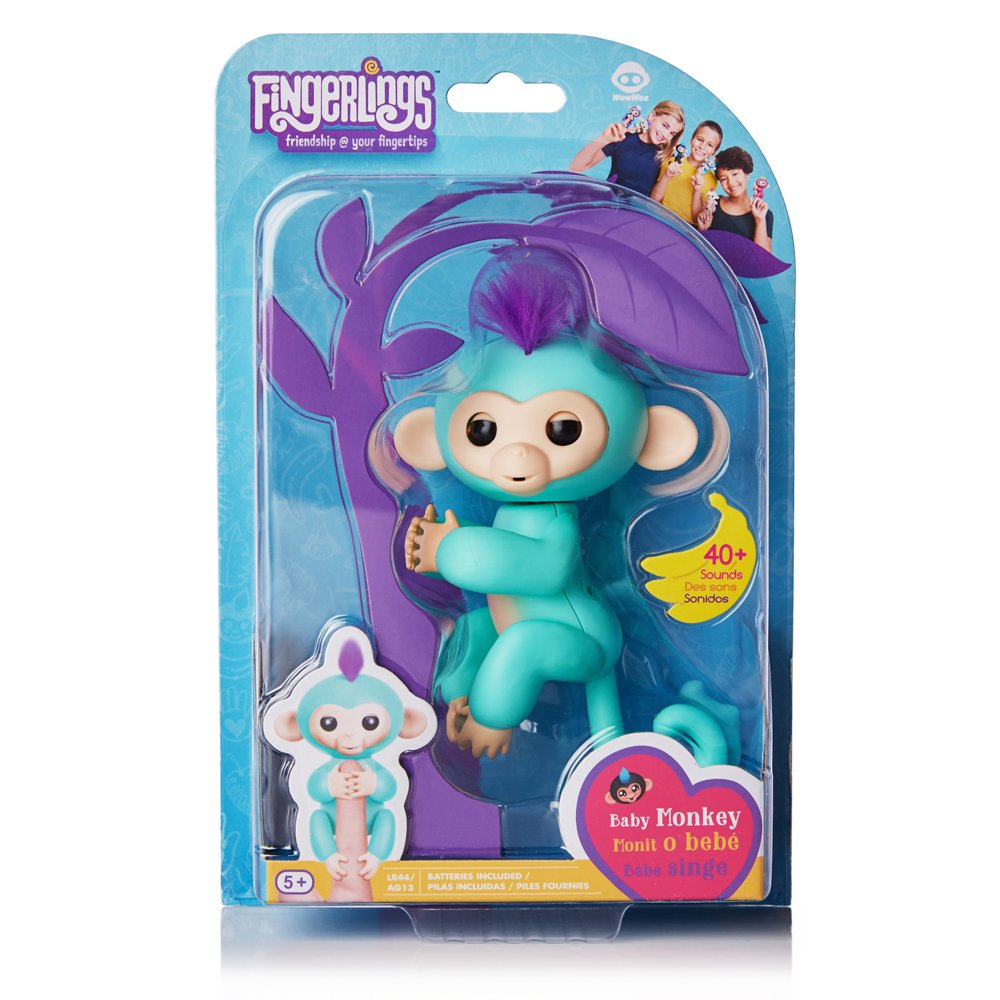 Fingerlings - Interactive Baby Monkey - Zoe (Turquoise with Purple Hair) By WowWee by WowWee (Image #8)