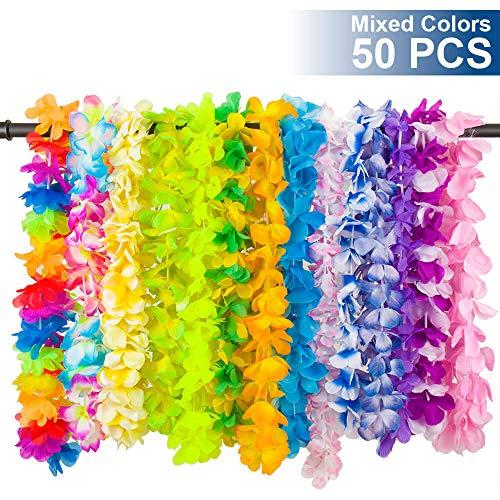 LongSky Hawaiian Leis Party Favors 50 PCS Tropical Hawaiian Necklace Silk Flower leis for Luau Beach Birthday Party Decorations and Party -