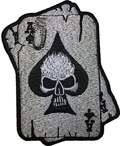 Pig Costume Diy (Papapatch Ace of Spades Skull Ghost Head Poker Card Tattoo Motorcycle Bike Jeans Vest Jacket Costume DIY Applique Embroidered Sew Iron on Patch (IRON-A-CARD-SKULL))
