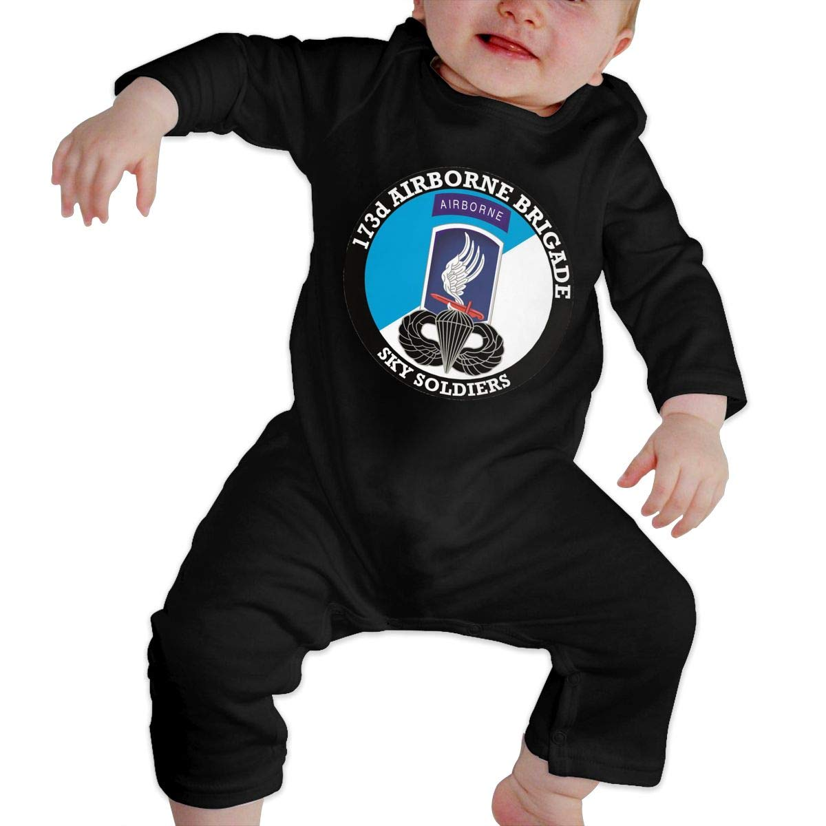 173rd Airborne Brigade with Jump Wings Newborn Baby Long Sleeve Bodysuits Rompers Outfits