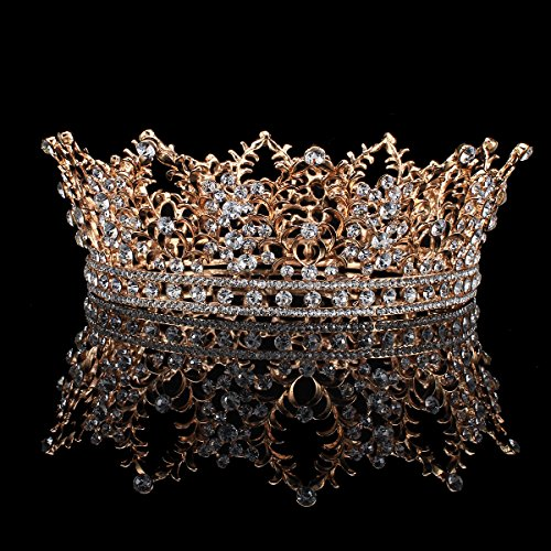 FUMUD Bridal Jewelry Baroque Tiara Crown Women Vintage Headband Rhinestone Crystal Crown (Roes gold)
