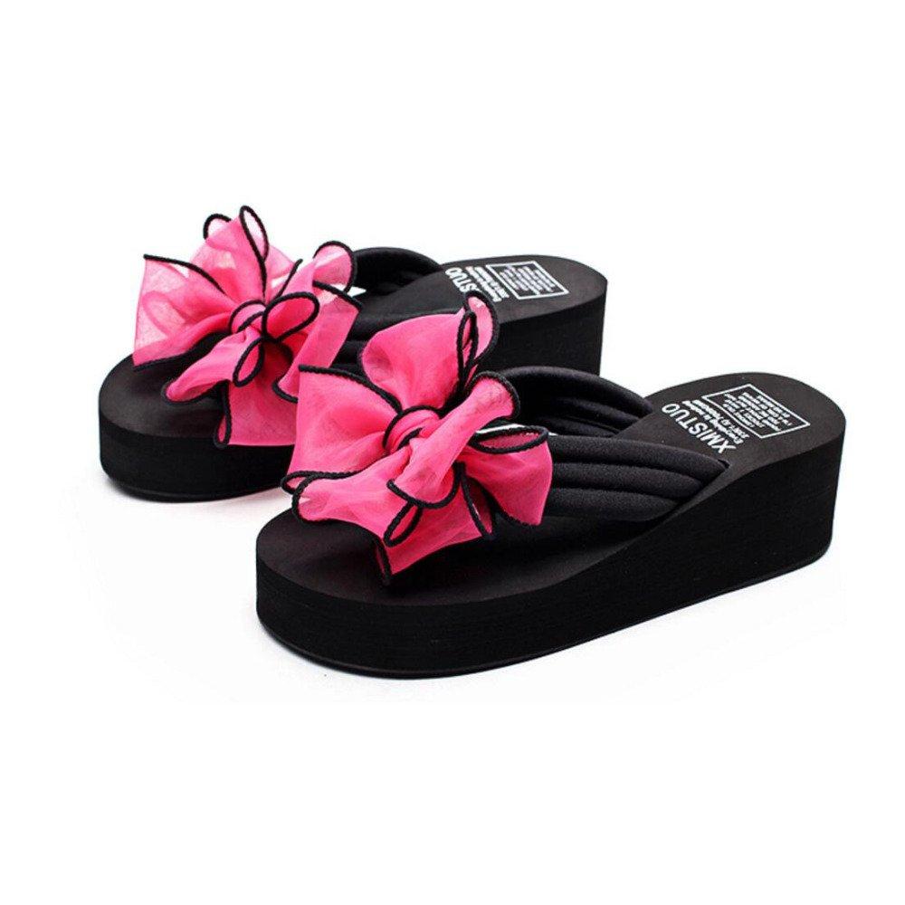 Sandales Wedges D été Dames Wedges été Bows Tongs Chaussures Antidérapantes B00MDIKV10 Plateformes Sandales à Talons Chaussures de Plage Flippers Pantoufles de Mode 5.5cm Talon Rose 0a174e9 - jessicalock.space