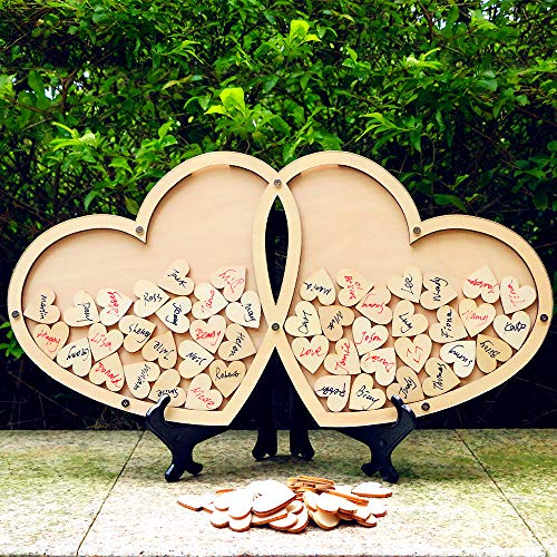 NEAMON 80pcs Hearts Unique Wedding Guest Book Cool Wedding Decoration Rustic Wedding centerpieces idea (A) ()