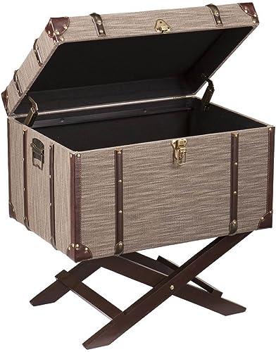 Southern Enterprises Devane Linen Trunk File Cabinet in Dark Beige