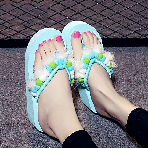 Slippers HAIZHEN Women shoes 5.5CM Female Summer Sand Female Non-slip Thick Bottom Sandals Vacation Leisure (White/Black/Green/Pink) for Women (Color : White, Size : EU36/UK3.5/CN36) Green