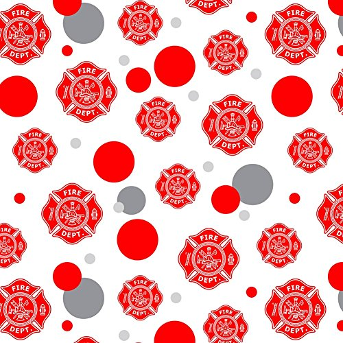 Premium Gift Wrap Wrapping Paper Roll Pattern - Firefighter Firemen Fire Department FD - Maltese Cross Red