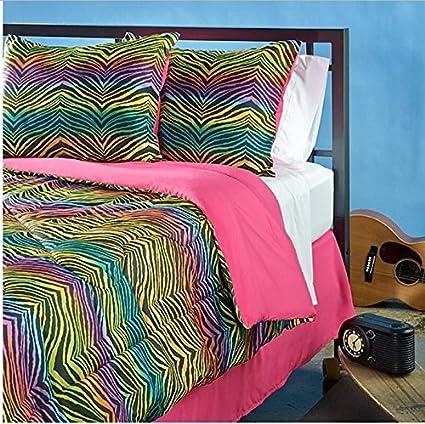 3 piezas de las niñas Rainbow Color Zebra Themed colcha Twin Set, elegante todo Zoo