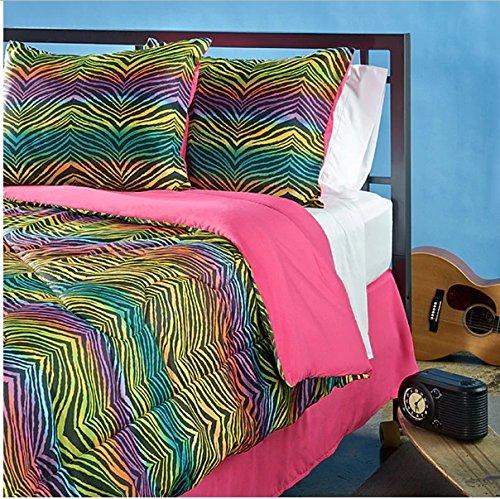 3 Piece Girls Rainbow Color Zebra Themed Comforter Twin Set