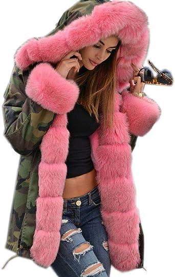 Women/'s Faux Fox Fur Coat Thicken Winter Warm Slim Short Jackets Outwear Parkas