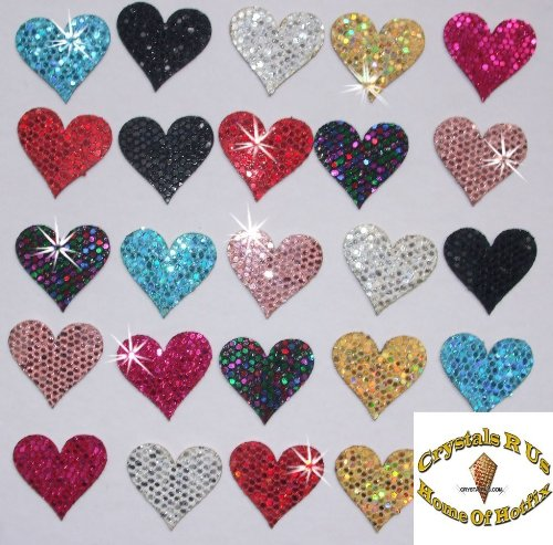 (CrystalsRus 2 Packs = 48 Fabric Sequin 20mm Hearts Iron-On Fabric Transfer)