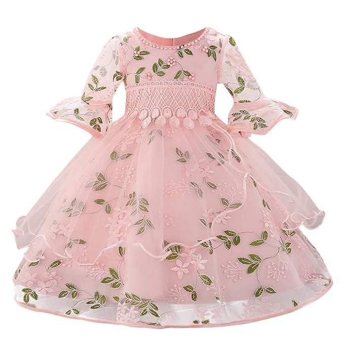 Vestidos Bebe Niña Verano Fossen 0-18 Meses Niñas Princesa Tutu Vestido de  Mangas con Volantes Estampado de Flores Borde de Encaje para Bautismo Boda  Fiesta ... 4713e4c2993f