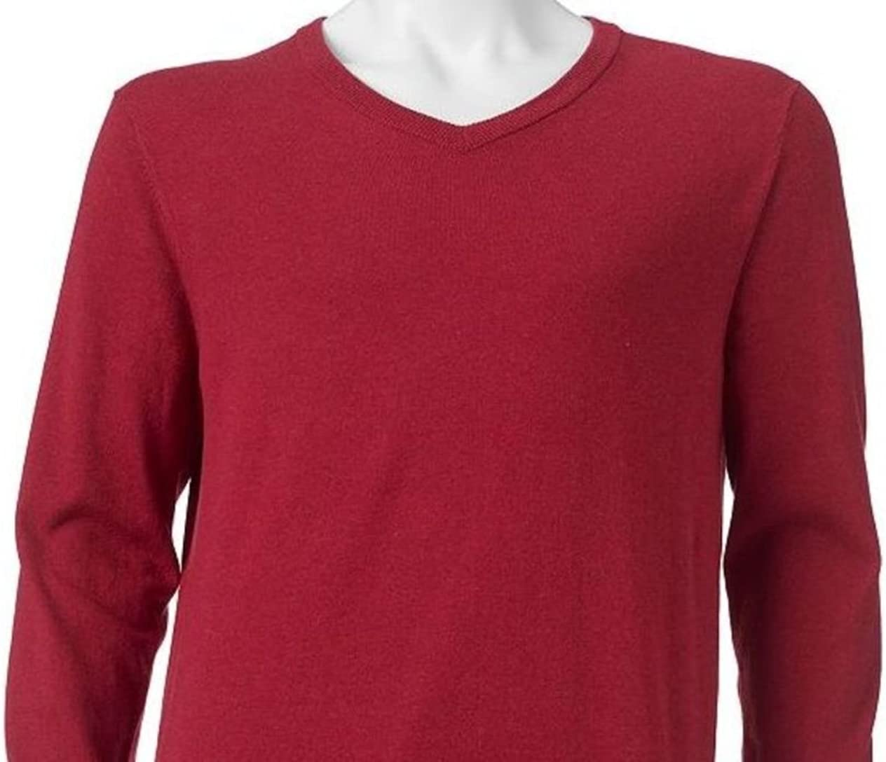 Sonoma Mens Classic-Fit Lightweight V-Neck Cotton Sweater Cherry Heather