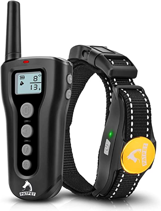 PATPET Dog Training Collar with Remote Rechargeable Waterproof Shock Collar for Dogs 3 Training Modes, Beep Vibration and Shock, Up to 1000Ft Remote Range