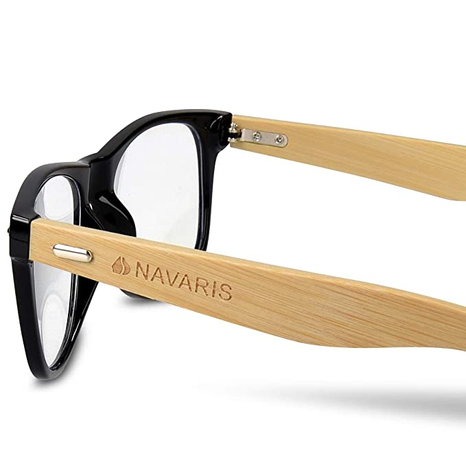 fc1e08f976 Amazon.com  Navaris Vintage Non Prescription Glasses - Unisex Eyewear with  Bamboo Frames  Clothing
