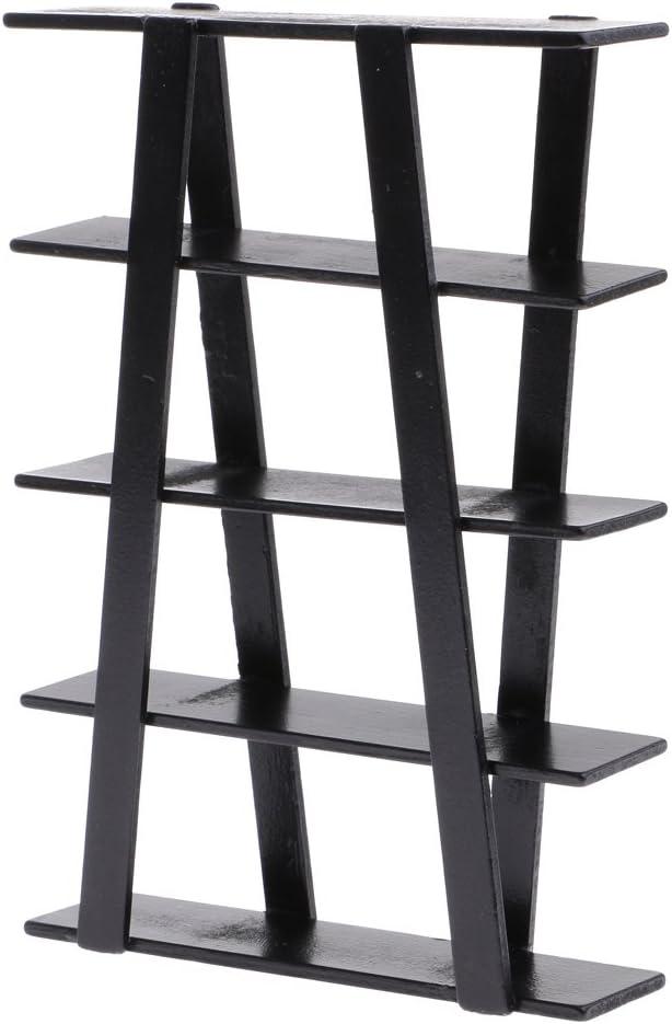 MonkeyJack 1:12 Black Wood Bookcase Shelving Dollhouse Living Room Furniture Decoration