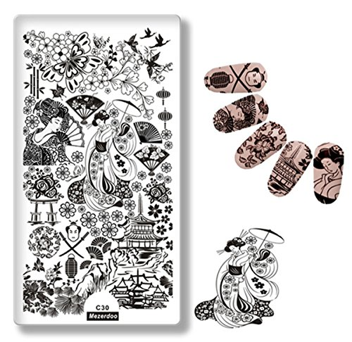 Mezerdoo Japanese Series Nail Template Petty Girl Warrior Fashion Style Stamping Plate Cherry Butterfly Pattern Fan Design ()