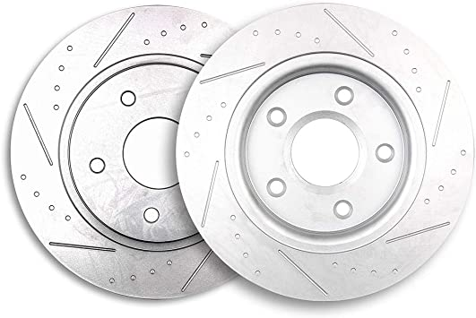 2013 2014 For Volkswagen Routan Drilled Slotted Rear Brake Rotors and Pads 305mm