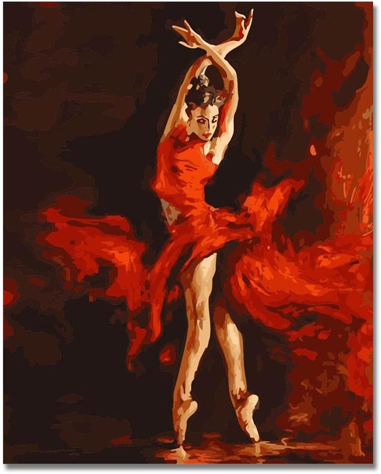 LIUDAO Paint by Number Kit Include Brushes DIY Oil Painting on Canvas - Ballerina Ballet Dancer- 16x20 Inches Without Frame