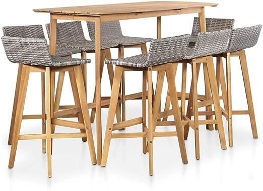Festnight- Muebles de Bar Jardín Juegos de Mesa y 8 Sillas para Comedor 9 Piezas: Amazon.es: Hogar
