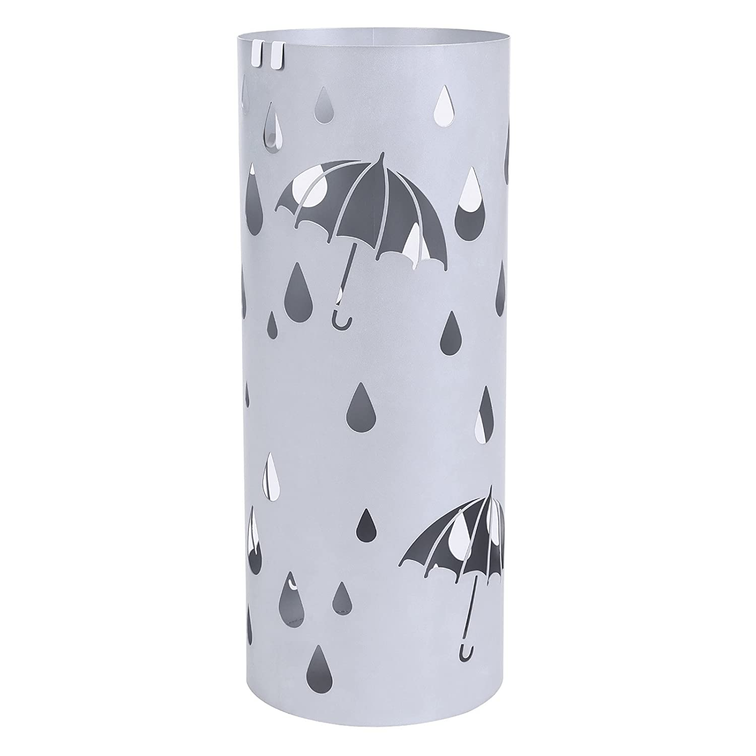 Metal Umbrella Stand Silver Gray Umbrella Holder Home Office Decor with Drip Tray and Hooks