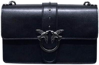 Pinko Love Bag, Borsa a tracolla in pelle nera, elegante e