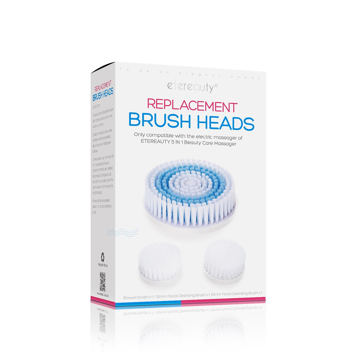 3Pcs Body Facial Cleansing Brush Head Replacement for 5 in 1 Waterproof Body Facial Brush