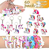 Unicorn Party Favors, Dreampark Unicorn Bracelets, Rings and Keychains, Rainbow Unicorn Birthday Party Supplies Set Novelty Toys for Kids and Girls (60 Packs)