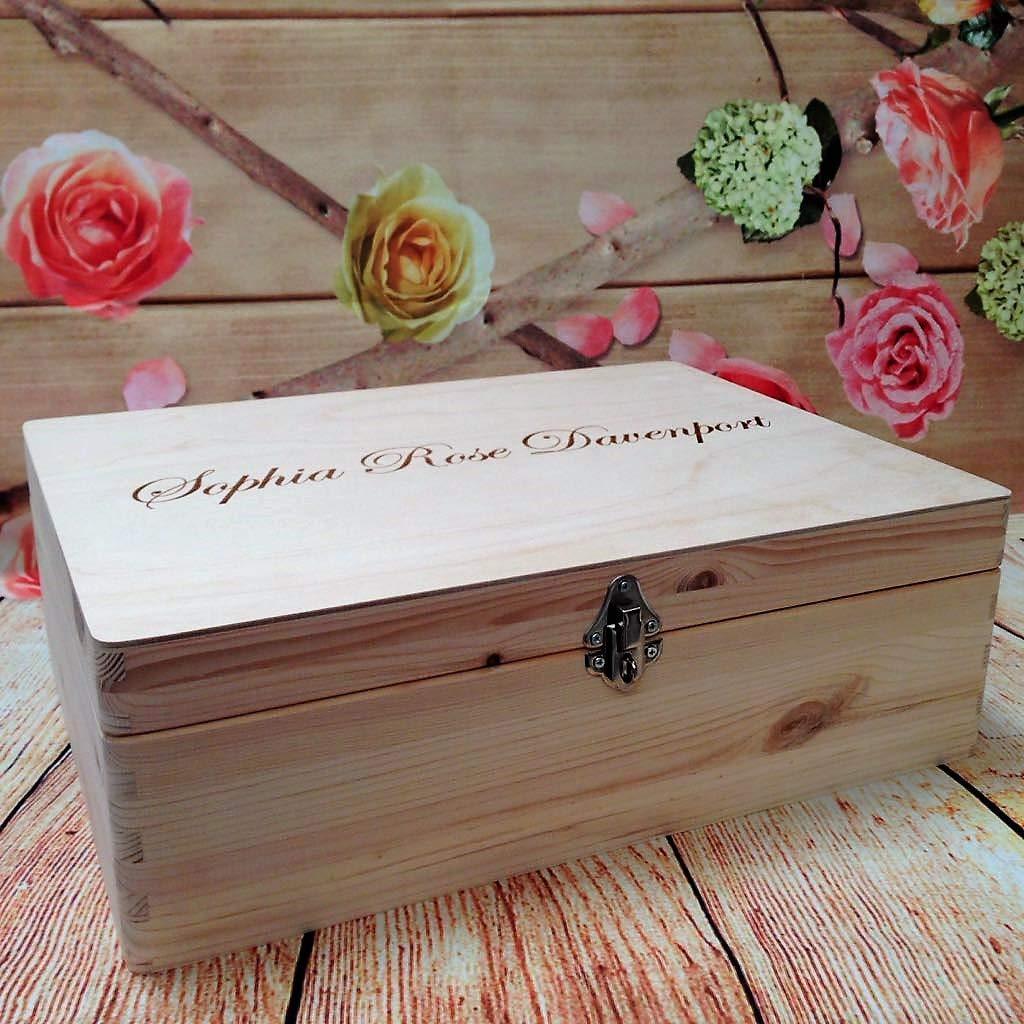 Personalised Wooden Keepsake Chest Box Toy Storage Memory Case Holidays Wedding Your Name Laser Engraved