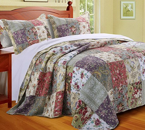 Country Cottage Floral Oversized Bedspread Set with Shams Print Patchwork Pattern 3 Piece Bedding Yellow Blue Green Luxury 100 Cotton Reversible Double Queen Size - Includes Bed Sheet Straps (Queen Double Sham)
