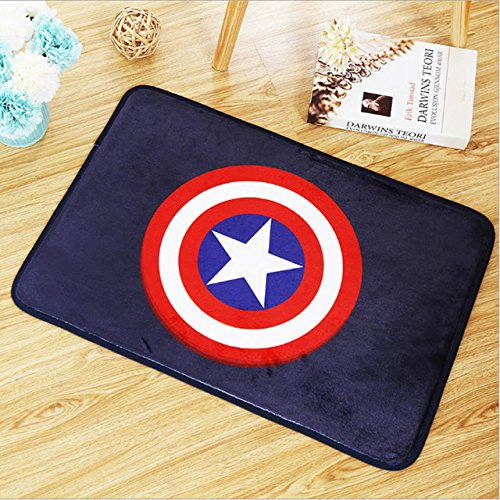 Blue Red Captain America Logo Area Rug Movie Superhero Captain Shield Print Doormats for Kids Room Avengers Super Hero Printed Floor Mat Cartoon Design Bathroom Carpets Soft Flannel Anti-Slip Backing by Unknown