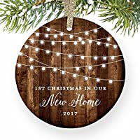 """Housewarming Gifts 2017, Dated 1st Christmas In Our New House Ornament New Home Rustic Xmas Farmhouse Collectible Homeowner Present from Realtor 3"""" Flat Circle Porcelain w Gold Ribbon & Free Gift Box"""