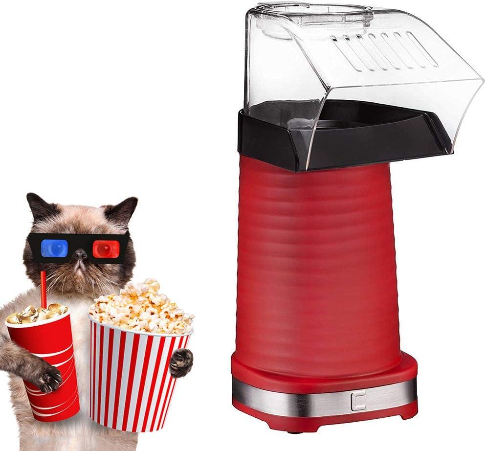 KOUQI Máquina para Hacer Palomitas de maíz, Air Popcorn Maker, 1200W Power Hot Air Popcorn Popper Sin Aceite, con diseño de Boca Ancha, Taza medidora y Tapa extraíble, Apto para lavavajillas, sin BPA