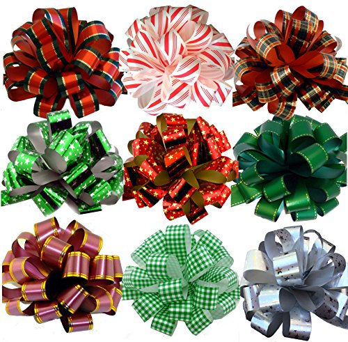 Assorted Large Christmas Pull Bows for Gifts, Wreaths, Garlands - 8