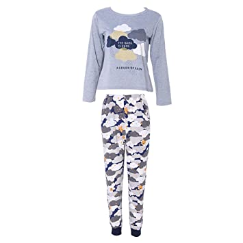 Itemap New Women Girl Long Sleeve Pajamas Set House Wear Sleepwear Pyjamas (XL)