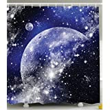 Ambesonne Galaxy Nebula Shower Curtain Full Moon Phase Starry Night Sky Universe Infinity and Space Bathroom Decorations in Apartment Decor for Dorms Blue Navy White