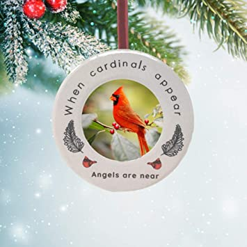 Cardinal Christmas Ornament remembrance Wooden Xmas Tree floating feathers Glass