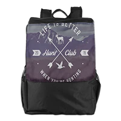 Newfood Ss Grunge Hunt Club Emblem With Arrows Motivating Quote Mountains Outdoor Travel Backpack Bag For Men And Women