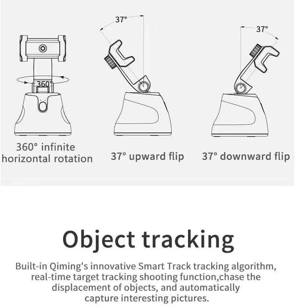 360/° Intelligent Tracking Gimbal Anti-Shake Balance face Positioning Tracking Artifact Black