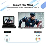 """TENKER 14.4 """" Portable DVD Player with 12.1"""" Swivel Screen, Rechargeable Battery with SD Card Slot and USB Port,1.8M Car Charger and Power Adaptor"""
