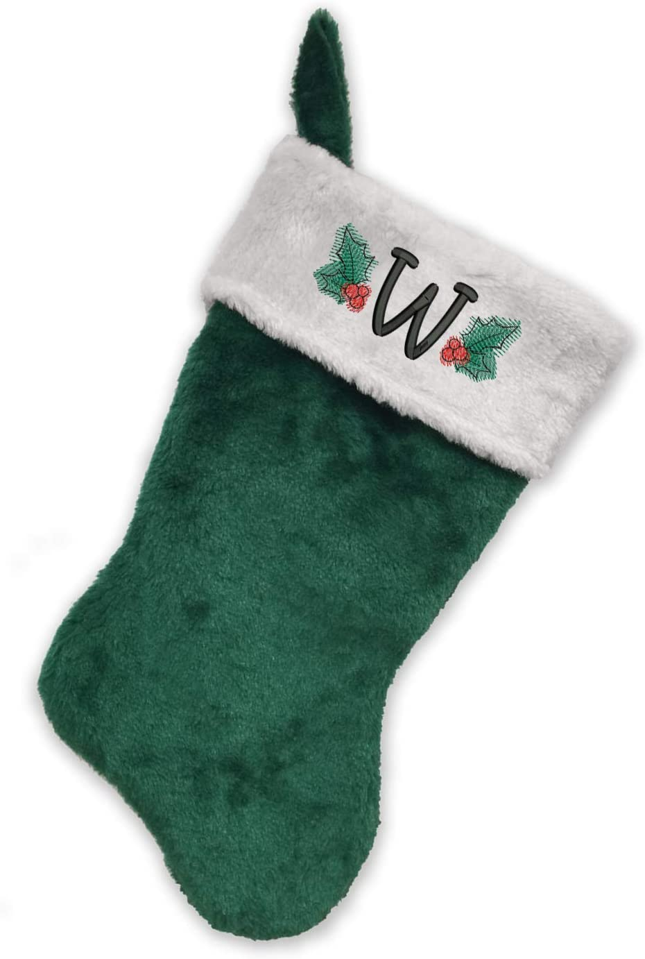 Monogrammed Me Embroidered Initial Christmas Stocking, Green and White Plush, Initial W