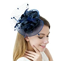 JaosWish Tulle Feather Fascinator Headband Net Flower Hairclip for Cocktail Party Royal Ascot Wedding Hat