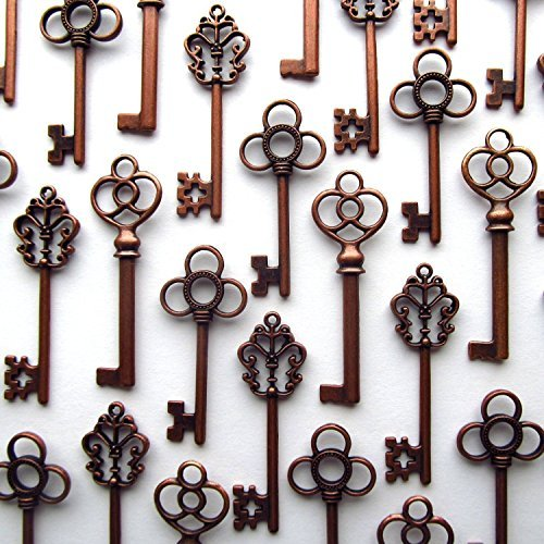 Salome Idea Mixed Set of 30 Large Skeleton Keys in Antique Copper - Set of 30 Keys (Copper Color) from Salome Idea