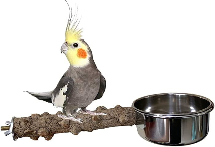 Vehomy Natural Wood Bird Perch with Bird Feeding Cups Bird Stainless Steel Food Water Bowls Dish Feeder for Cockatiel Conure Budgies Parakeet Parrot Bird Platform Stand