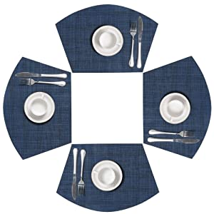 SHACOS Round Table Placemats Wedge Placemat Set of 4 Non Slip Heat Resistant Woven Vinyl Table Mats Wipe Clean Indoor Outdoor (4, Blue Black)