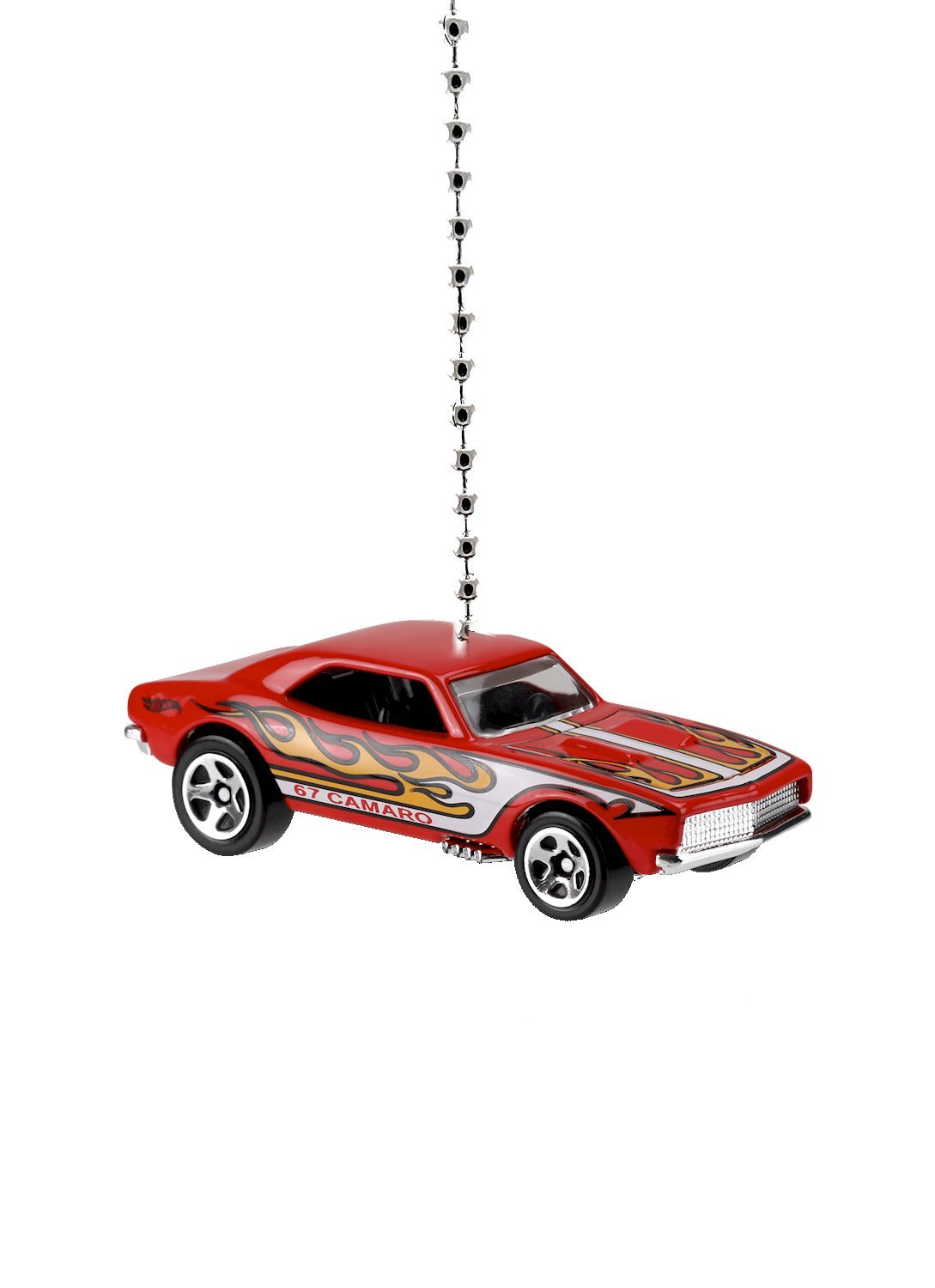 Hot Wheels Chevy Camaro Diecast Car Ceiling Fan Light Pull & Ornament 1/64 Scale (1967 Chevy Camaro - Red)