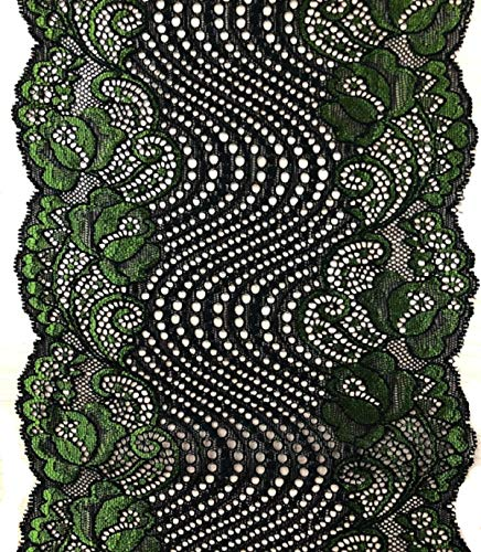 Green Flower Trim - Yalulu 5 Yards Spandex Embroidered Soft Flower Floral Lace Trim/Sewing DIY Sewing Craft (Green)