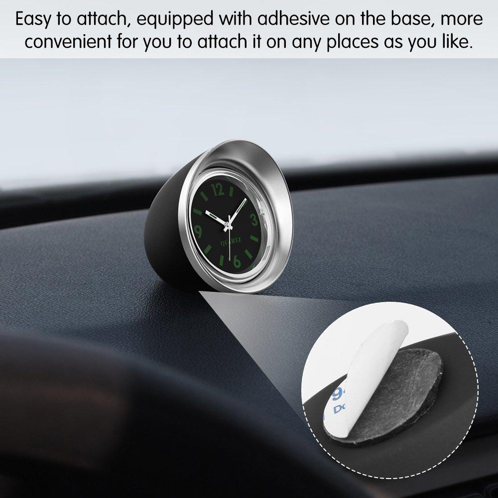 Quartz Uhrwerke KFZ Uhr Analog mit Schwarzes Zifferblatt Silber Schale Batterie Einbauuhr f/ür Auto FORNORM Auto Quartz Uhr 4.5cm//1.8